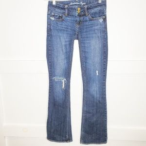 American Eagle Distressed Artist Stretch Jeans 0